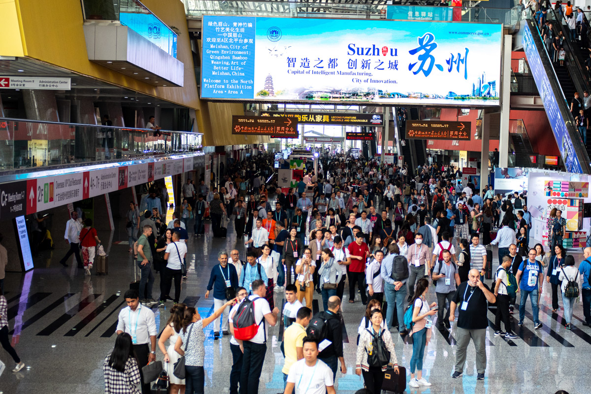 Canton Fair Exhibition in Guangzhou. Thousands of business ...